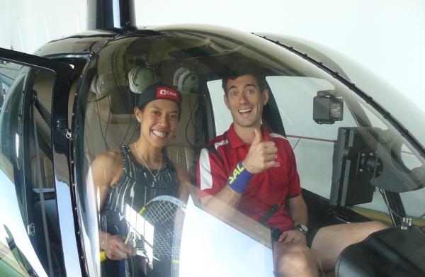 Ready for take-off: Nicol David and Borja Golan make a flying visit to Romania