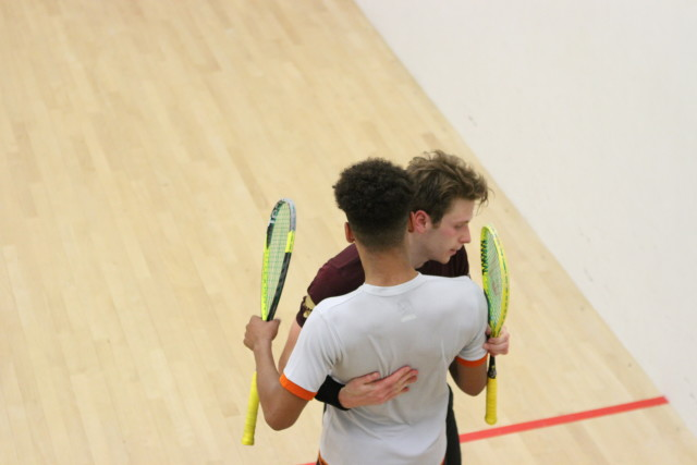 Big hugs after Charles Sharpes bets Richie Fallows in the semi-finals