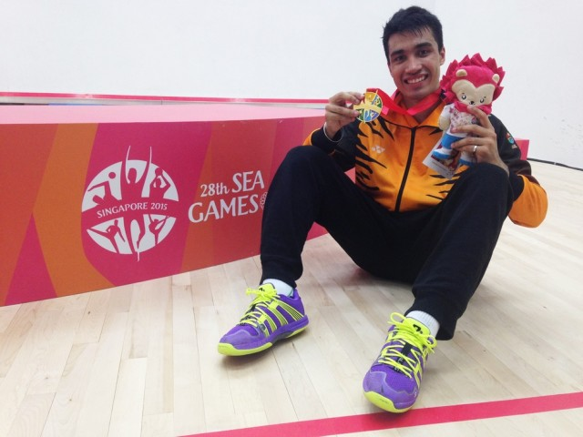 Owning the court: Sanjay Singh with his gold medal