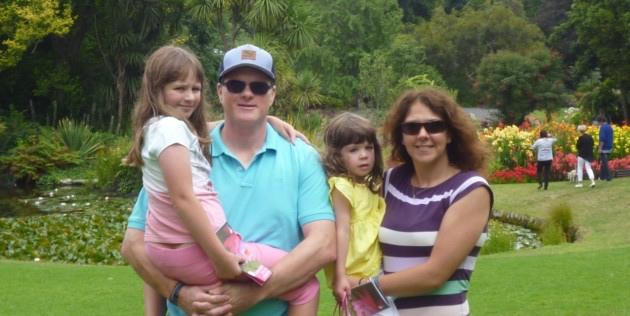 Cassie, Matt and their daughters in Australia