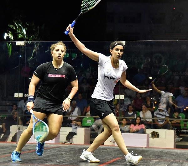 Nour El Tayeb drives the ball against Kanzy El Defrawy
