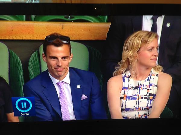 Nick and Esme enjoy the tennis (looks like Nick's borrowed one of my ties)