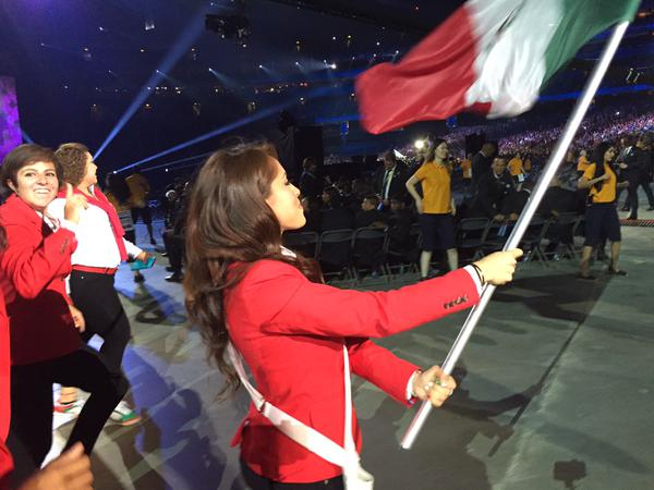 Paola Longoria carries the flag for Mexico
