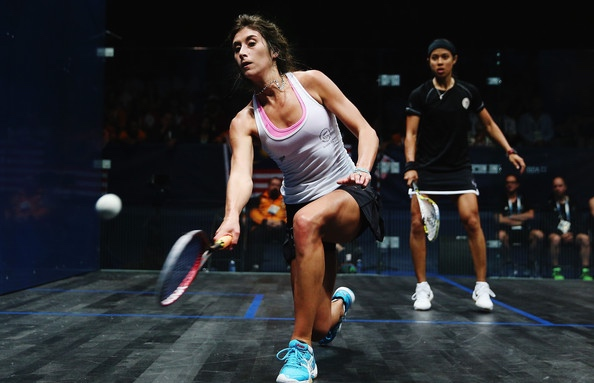 Megan Craig in action against Nicol David at the Commonwealth Games