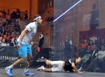 Top seed Mohamed Elshorbagy has reigning champion Amr Shabana on the floor