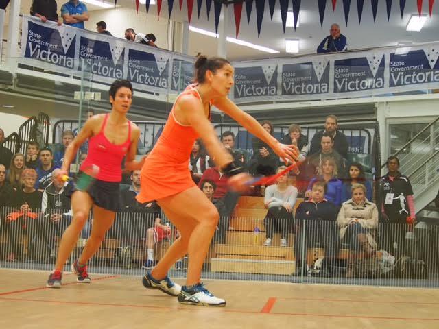 Joelle King (right) in action against Christine Nunn