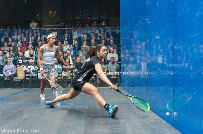 Raneem El Welily gets in front of Nicol David
