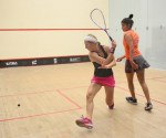 Alison Waters battling out with Joshana Chinappa