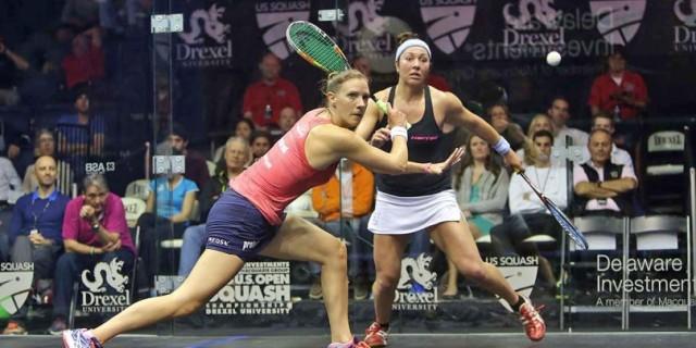 Laura Massaro in action against Amanda Sobhy