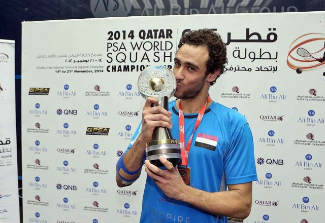 The 2014 world champion Ramy Ashour is seeded four