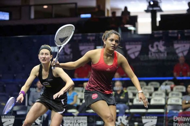 Dipika Pallikal gets in front of Alison Waters