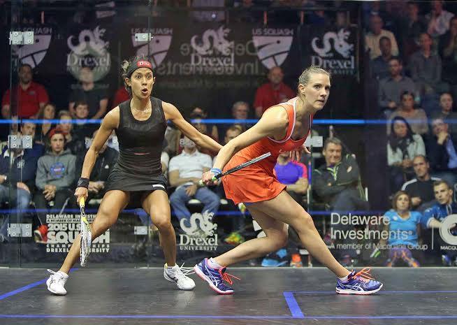 Nicol David looks stunned by Laura Massaro's fightback
