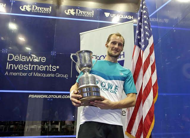 Gregory Gaultier celebrates his US Open title