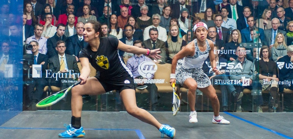 Finals at the Windy City Open 2015 held at the University Club of Chicago. Nicol David (MAS) vs. the winner Raneem El Welily (EGY).