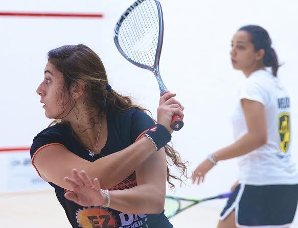Nour El Sherbini winds up a backhand