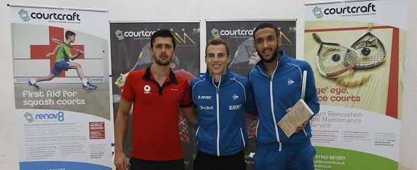 Nick Matthew with champion Declan James (right) and George Parker (right)