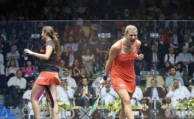 Winner! Laura Massaro celebrates victory