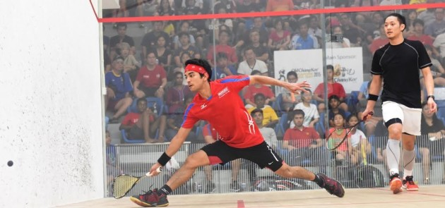 Chang in action in the Singapore Open