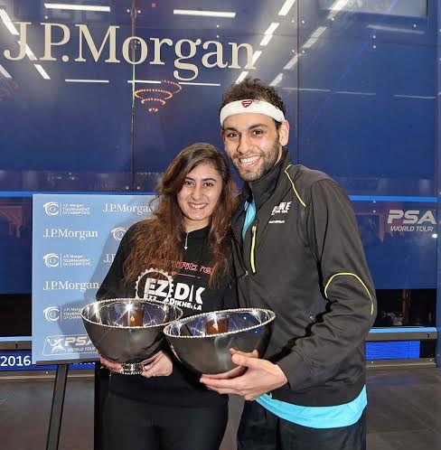 Champions Nour El Sherbini and Mohamed Elshorbagy