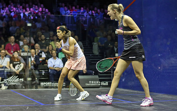 Laura celebrates victory over Nicol David to reach last year's final