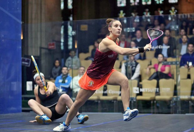 Camille Serme in action against Amanda Sobhy