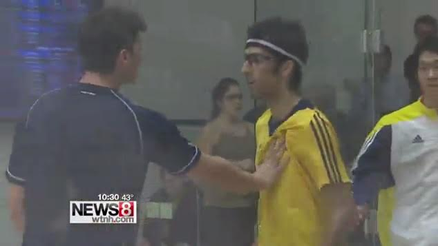 Poor advertisement from squash, a screen capture from WTNH video of Martin/Fazelimanesh incident