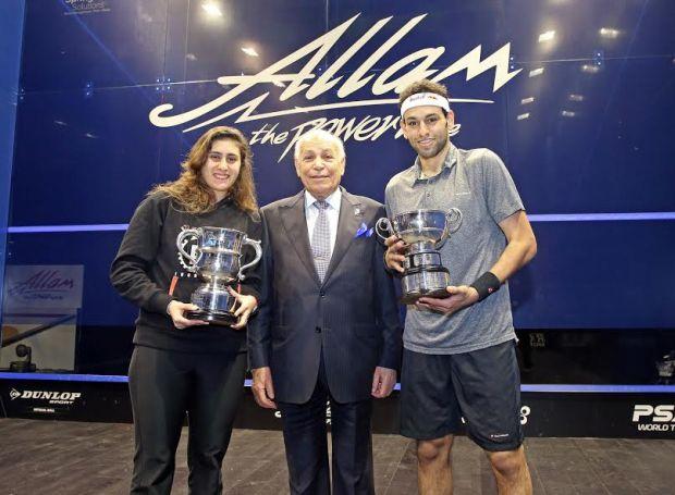 Champions Mohamed Elshorbagy and Nour El Sherbini with sponsor Assem Allam