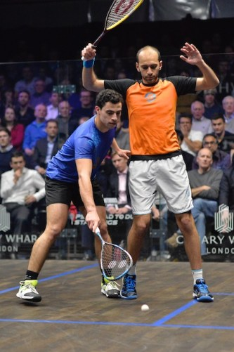 Marwan Elshorbagy and Fares Dessouki get a little close in their first round clash