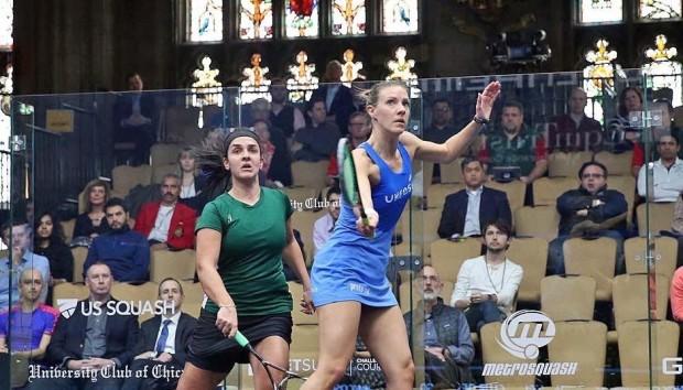 Laura Massaro volleys against Omneya Abdel Kawy
