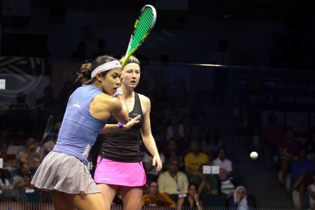 Nicol David on the attack against Alison Waters