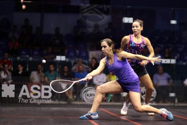 Nadine Shahin (left) beats Jenny Duncalf