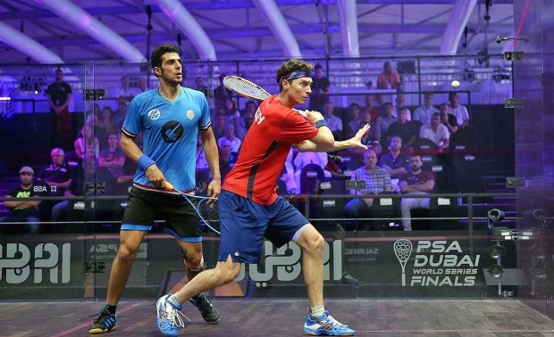 Cameron Pilley (red shirt) overcomes Omar Mosaad in Dubai