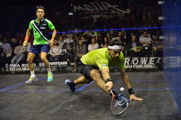 Mohamed Elshorbagy in action against Miguel Rodriguez
