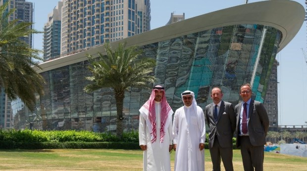 His Excellency Saeed Hareb, Secretary General of Dubai Sports Council; Ziad Al-Turki, Chairman of Professional Squash Association; Alastair Ruxton, Chief Operating Officer of Falcon and Associates and Jasper Hope, Chief Executive of Dubai Opera