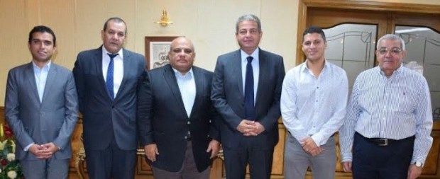 The Pyramids squash team (from left):  Ehab ElEbiary, Manager of the Sports & Tourism Programme for the Ministry of Youth & Sports, Mohamed El Kassab, PR Manager for the Ministry of Youth & Sports, Assem Khalifa, President of the Egyptian Squash Federation, Eng Khaled Abdel Aziz, Minister of Youth & Sports, Amr Mansi, Tournament Promotor and Managing Director of I Events, Nassif George, Manager of the Egyptian Squash Federation