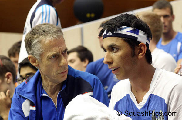 Mohamed Al Tamimi with coach Geoff Hunt