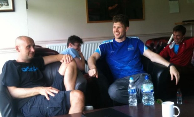 Paul Bell (centre) chats to members at Inverness