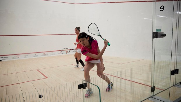 Wild card Ho in action against Jenny Duncalf