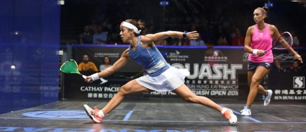 Birthday girl Nicol David in action against Camille Serme