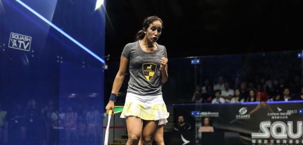 Nouran Gohar pumps her fist in delight after beating Nicol David