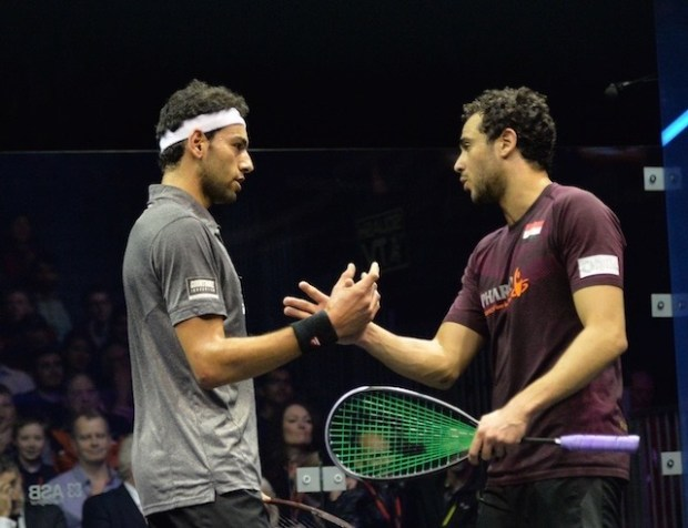Respect: Mohamed Elshorbagy and Ramy Ashour at the 2016 British Open