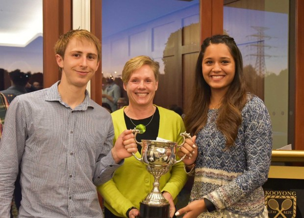 Champions, Rex Hedrick and Dipika Pallikal with Squash & Racquetball Victoria President Nicci Rossouw