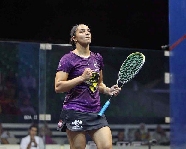 Raneem El Welily celebrates her victory