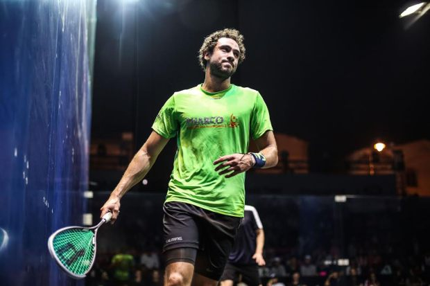 Ramy Ashour in action in Cairo
