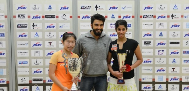 Ranveer Singh with Annie Au (left) and Joshna Chinappa