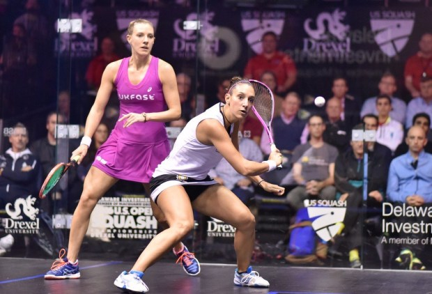 Camille Serme and Laura Massaro in mid-court