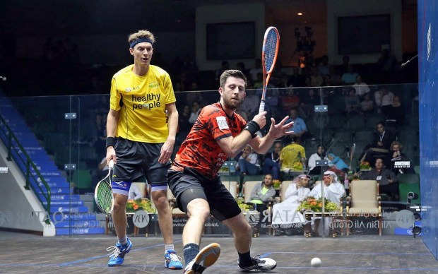 Daryl Selby gets in front of Cam Pilley