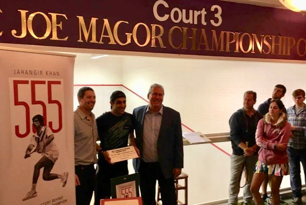 Joe Magor with Alan and Canterbury chairman Ashley Troth (left)