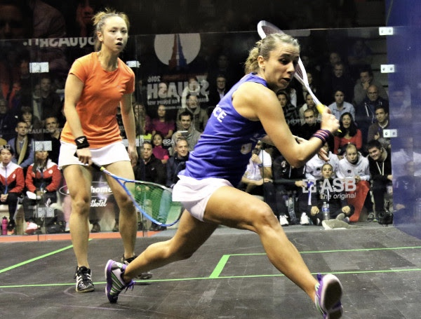 Laura Pomportes of France in action against Joey Chan