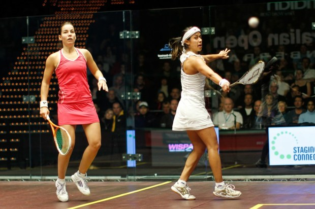 Nicol David and Jenny Duncalf in action